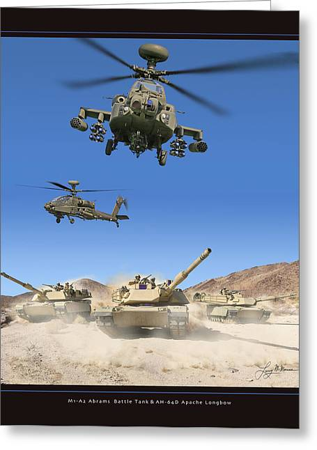 Abrams Battle Tank And Apache Longbow Greeting Card by Larry McManus