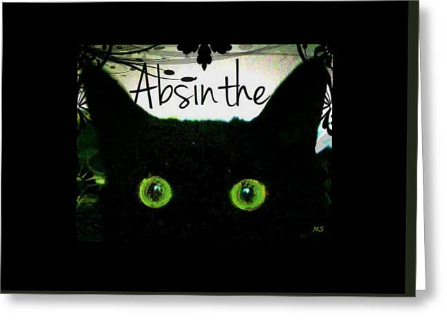 Greeting Card featuring the digital art Absinthe Black Cat by Absinthe Art By Michelle LeAnn Scott