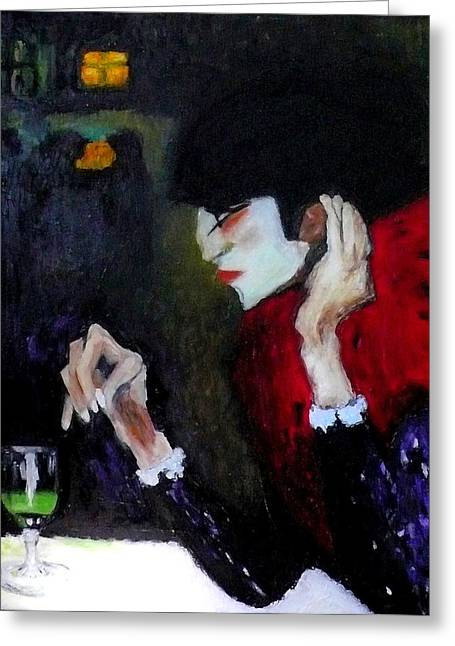 Absinthe Drinker After Picasso Greeting Card