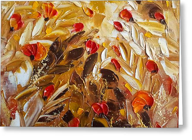 Abstact Red Flower Painting On Caramel By Ekaterina Chernova Greeting Card