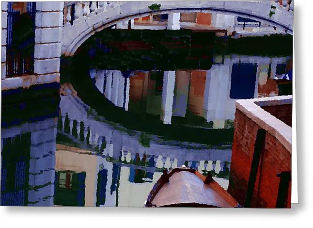 Abstract - Venice Bridge Reflection Greeting Card by Jacqueline M Lewis