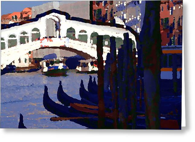 Abstract - Rialto Bridge Greeting Card by Jacqueline M Lewis