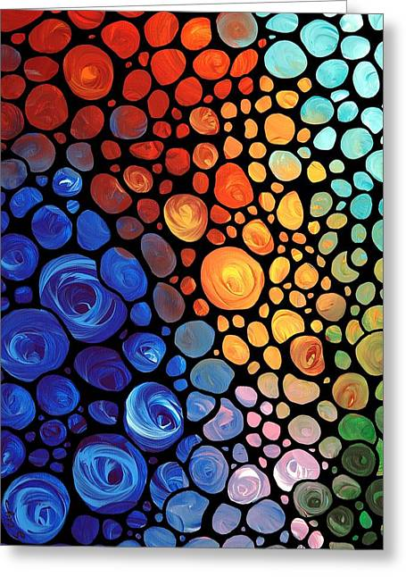 Abstract 1 - Colorful Mosaic Art - Sharon Cummings Greeting Card by Sharon Cummings