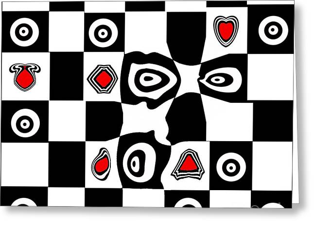 Abstract Art Black White Red Geometric Art No.110. Greeting Card