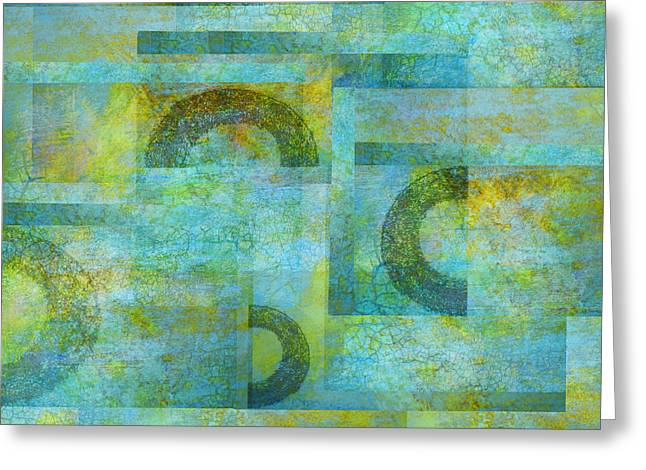 Abstract Art Blue Collage Greeting Card by Ann Powell