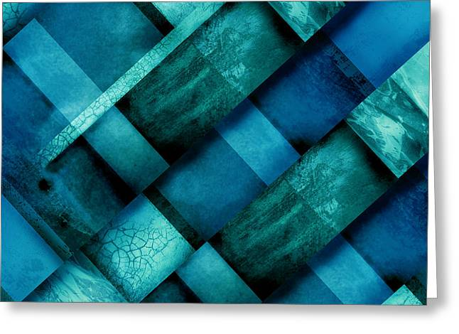 abstract art Blue Square Three Greeting Card