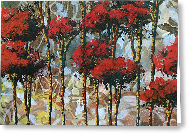 Abstract Art Decorative Landscape Original Painting Whispering Trees II By Madart Studios Greeting Card by Megan Duncanson