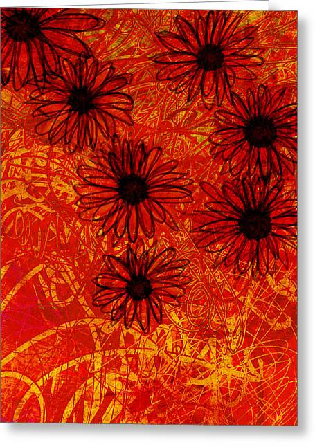 abstract - art- flowers - Daisies  Greeting Card by Ann Powell