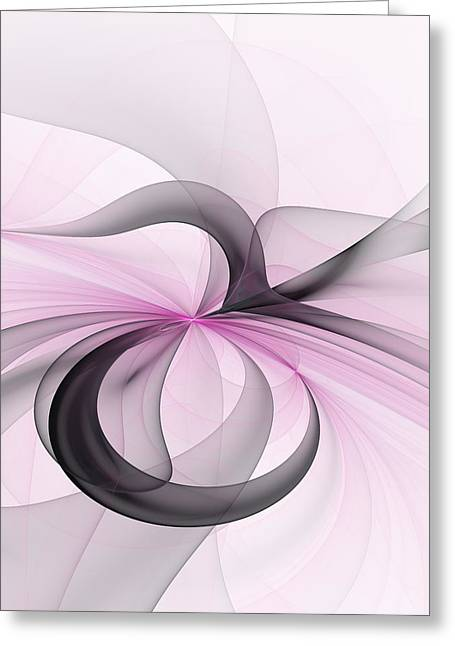 Abstract Art Fractal With Pink Greeting Card by Gabiw Art