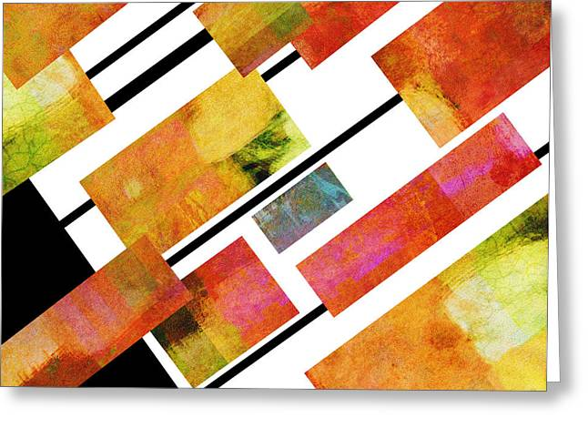 abstract art Homage to Mondrian Square Greeting Card by Ann Powell