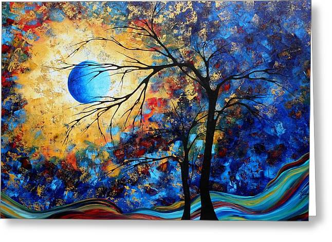 Abstract Art Landscape Metallic Gold Textured Painting Eye Of The Universe By Madart Greeting Card by Megan Duncanson