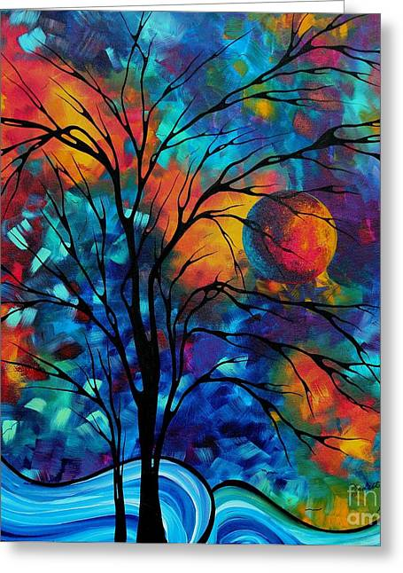 Abstract Art Landscape Tree Bold Colorful Painting A Secret Place By Madart Greeting Card by Megan Duncanson