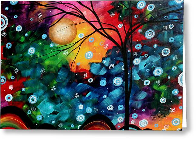 Abstract Art Landscape Tree Painting Brilliance In The Sky Madart Greeting Card by Megan Duncanson