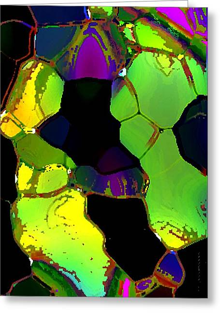 Abstract Art Of Greenish Composition In Digital Art Greeting Card by Mario Perez