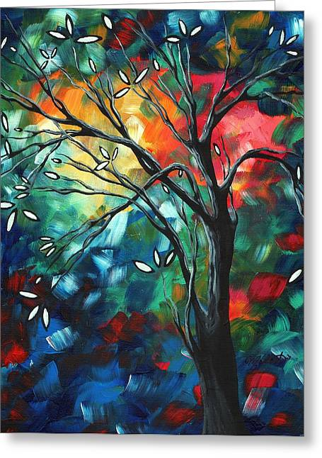Abstract Art Original Colorful Painting Spring Blossoms By Madart Greeting Card by Megan Duncanson