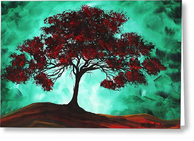 Abstract Art Original Colorful Tree Painting Passion Fire By Madart Greeting Card by Megan Duncanson