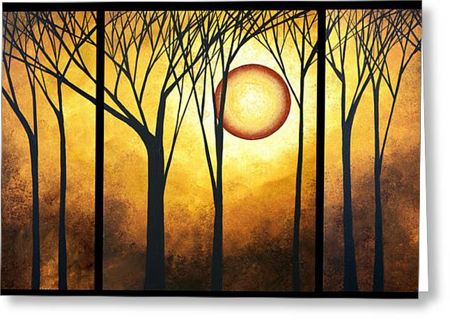 Abstract Art Original Landscape Golden Halo By Madart Greeting Card by Megan Duncanson