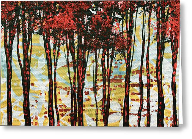 Abstract Art Original Landscape Painting Contemporary Design Forest Of Dreams I By Madart Greeting Card by Megan Duncanson