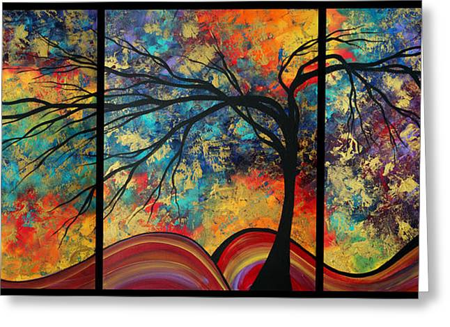 Abstract Art Original Landscape Painting Go Forth By Madart Greeting Card by Megan Duncanson