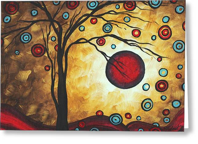 Abstract Art Original Metallic Gold Landscape Painting Freedom Of Joy By Madart Greeting Card by Megan Duncanson