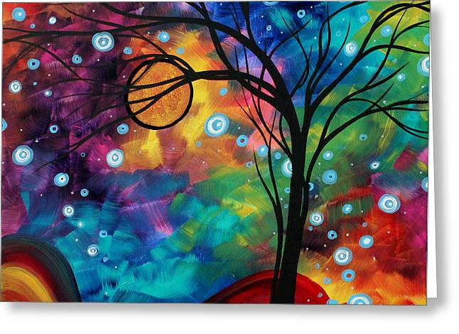 Abstract Art Original Painting Winter Cold By Madart Greeting Card by Megan Duncanson