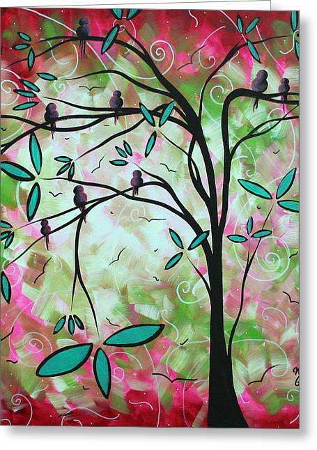 Abstract Art Original Whimsical Magical Bird Painting Through The Looking Glass  Greeting Card by Megan Duncanson