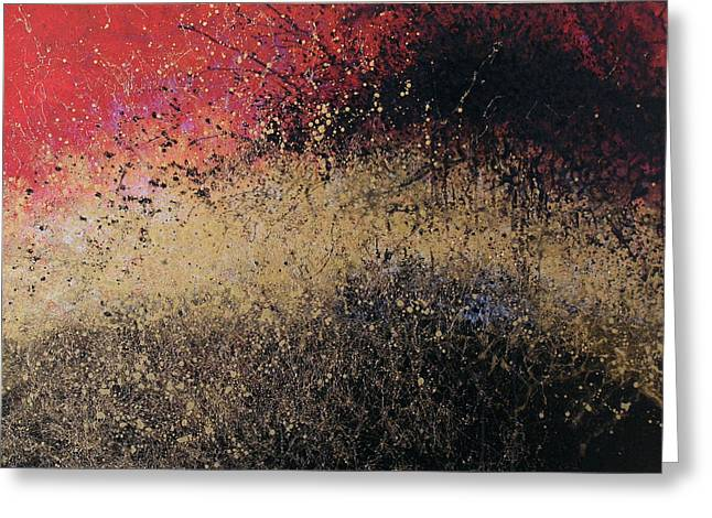 Abstract Art Painting ... Explosions Of Fire Greeting Card by Amy Giacomelli
