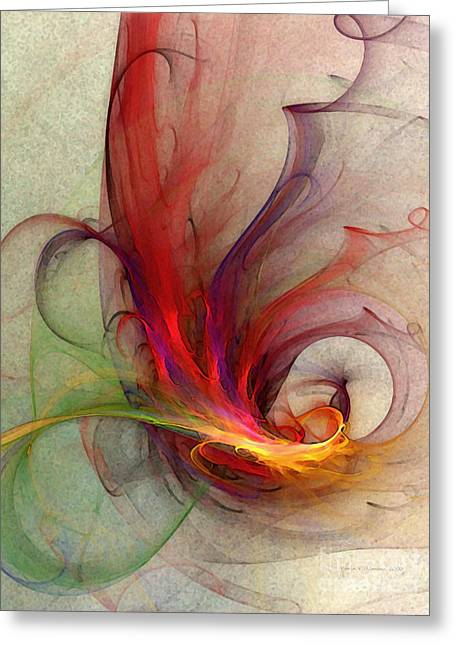 Abstract Art Print Sign Greeting Card by Karin Kuhlmann