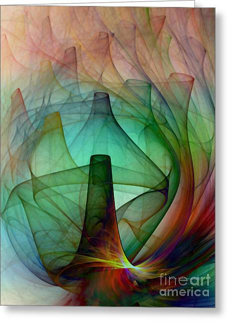 Abstract Art Print Witches Kitchen Greeting Card by Karin Kuhlmann