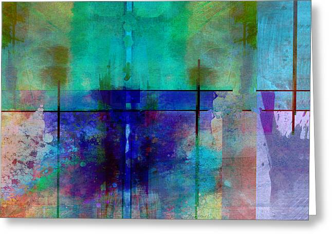 abstract - art- Rhapsody in Blue Greeting Card by Ann Powell