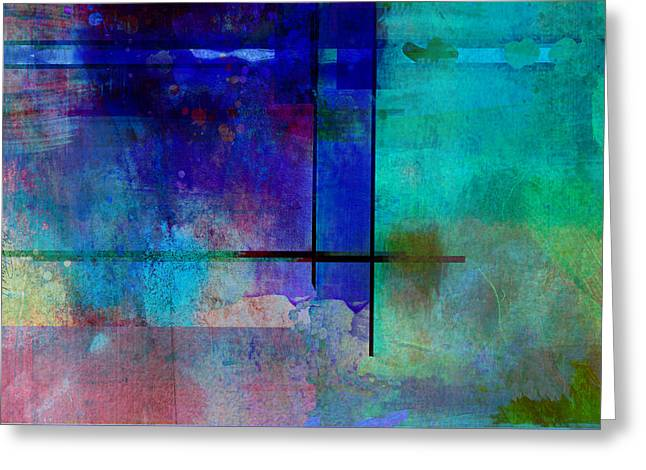 abstract-art-Rhapsody in Blue Square  Greeting Card by Ann Powell