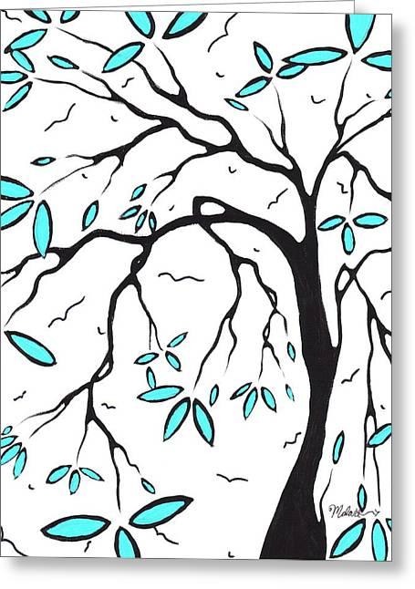 Abstract Artwork Modern Original Landscape Aqua Blossom Tree Art Aqua Foliage By Madart Greeting Card