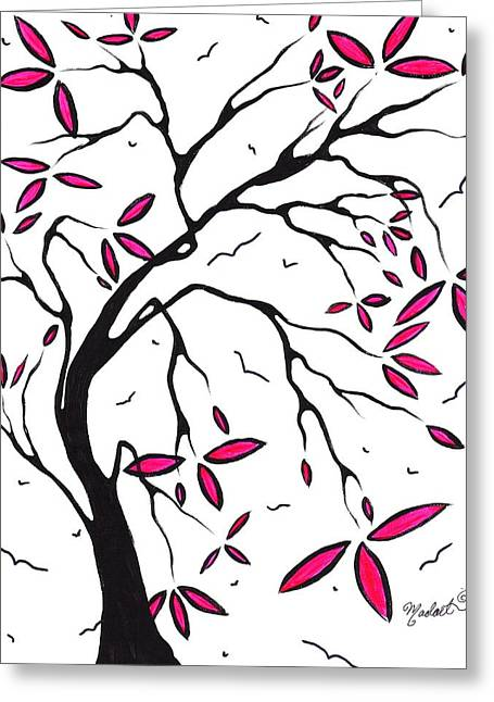 Abstract Artwork Modern Original Landscape Pink Blossom Tree Art Pink Foliage By Madart Greeting Card by Megan Duncanson
