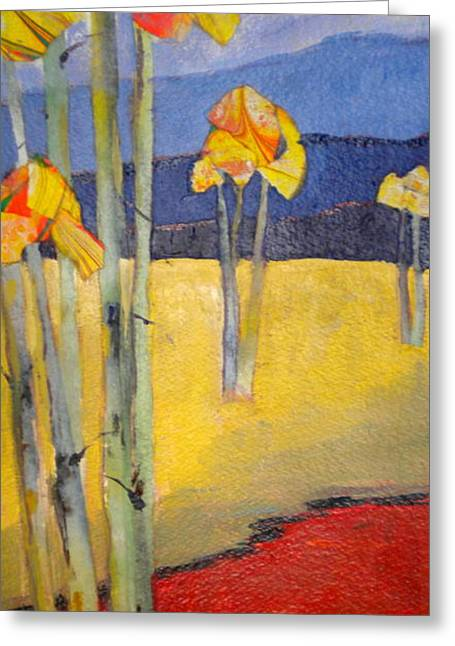 Abstract Aspen Greeting Card by Sally Bullers