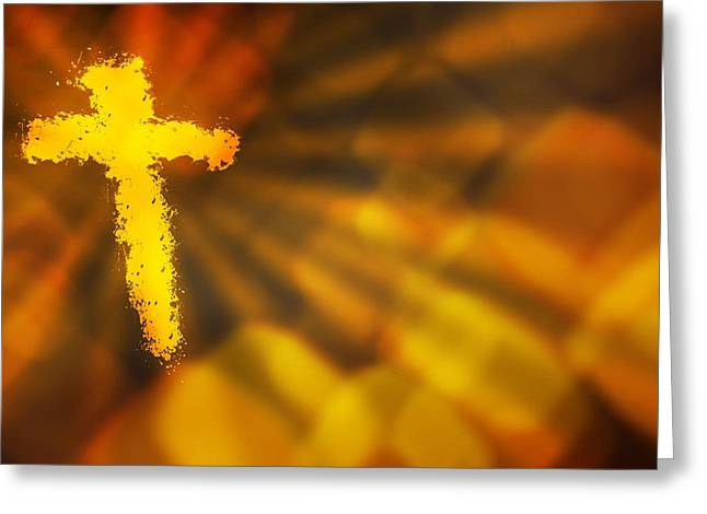 Abstract Background With A Fiery Cross Greeting Card by Design Pics RF