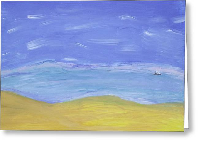 Greeting Card featuring the painting Abstract Beach by Martin Blakeley