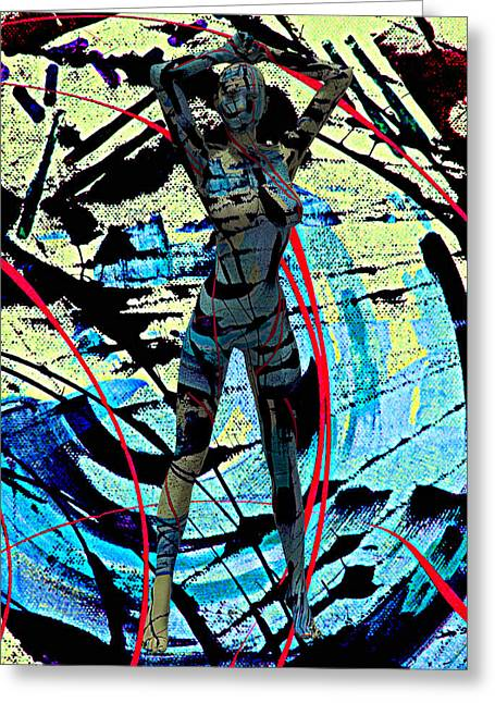 Abstract Beauty She Jumped Out Of My Canvas 7890 Greeting Card