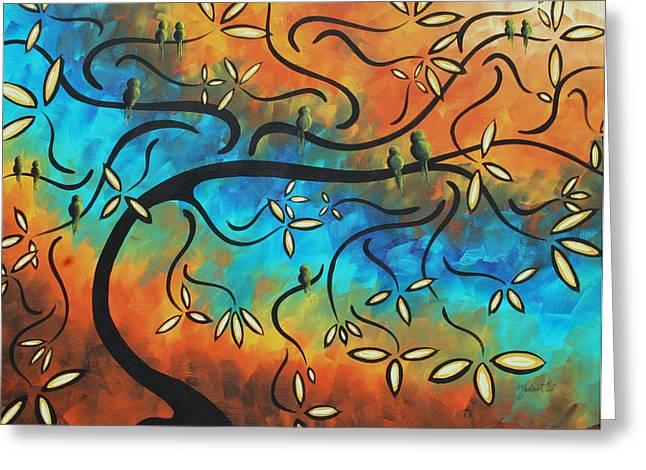 Abstract Bird Painting Original Art Madart Tree House Greeting Card
