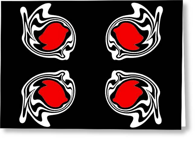 Abstract Black White Red Minimalism Art No.387. Greeting Card by Drinka Mercep