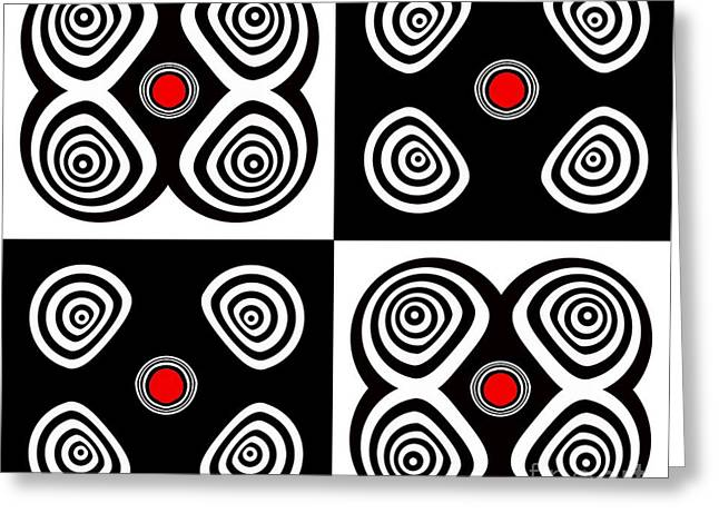 Abstract Black White Red Op Art Minimalism No.217  Greeting Card by Drinka Mercep