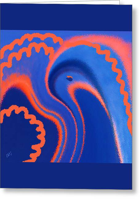 Abstract Blue Bird Greeting Card by Ben and Raisa Gertsberg