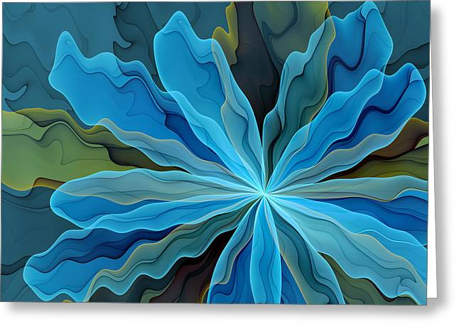 Abstract Blue Flower Greeting Card by Gabiw Art