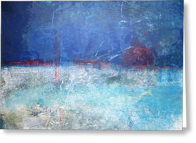 Abstract Blue Horizon Greeting Card by John Fish