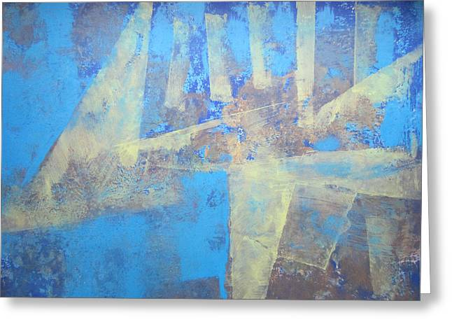 Greeting Card featuring the painting Abstract Blue Landscape by John Fish