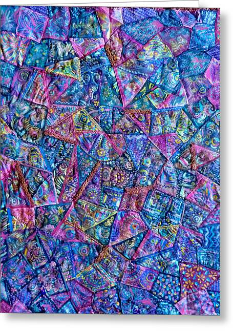 Abstract Blue Rose Quilt Greeting Card