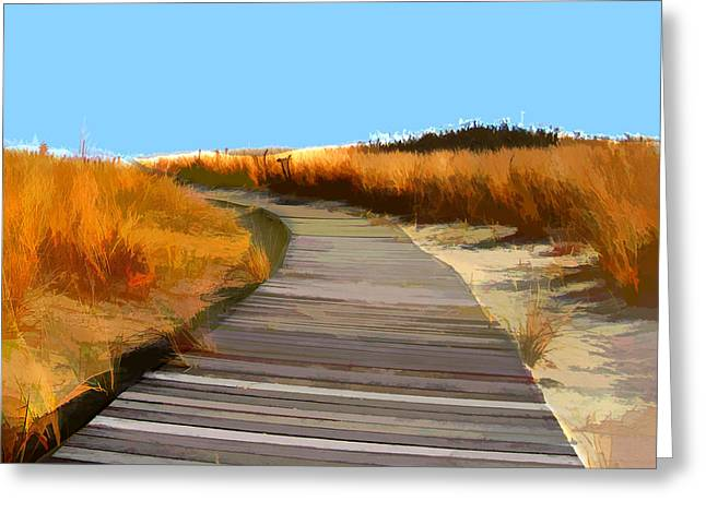 Abstract Boardwalk Over The Dunes Greeting Card by Elaine Plesser