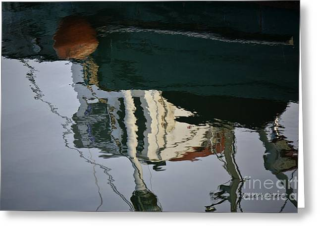 Abstract Boat Reflection II Greeting Card by Dave Gordon