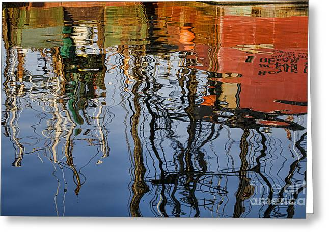 Abstract Boat Reflections Iv Greeting Card by Dave Gordon