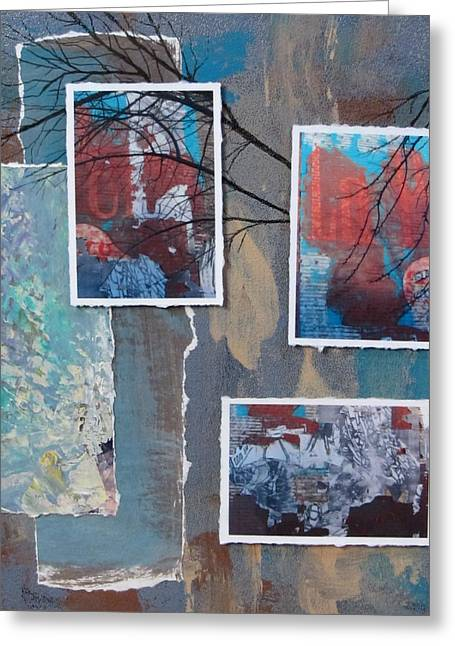 Abstract Branch Collage Trio Greeting Card by Anita Burgermeister