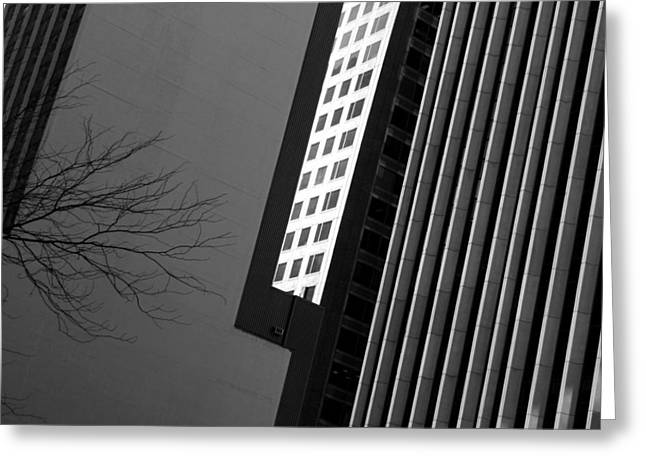 Abstract Building Patterns Black White Greeting Card